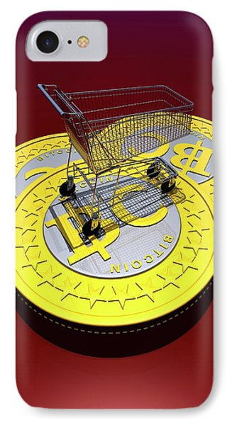 Bitcoins And Shopping Trolley IPhone Case by Victor Habbick Visions