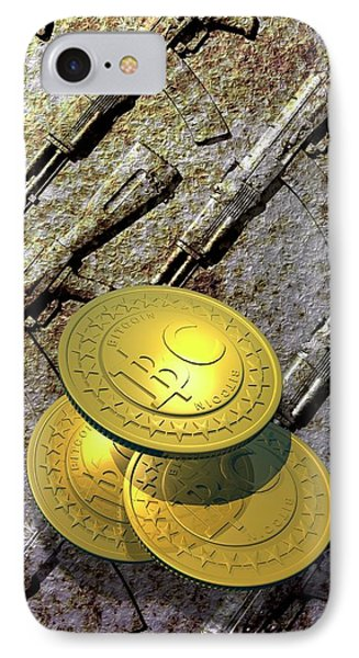 Bitcoins And Weapons IPhone Case by Victor Habbick Visions