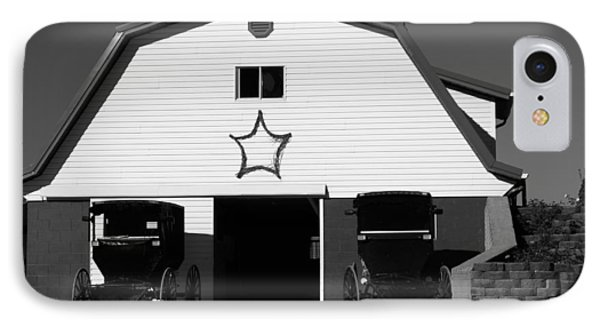 Black And White Amish Buggies And Barn IPhone Case by Dan Sproul