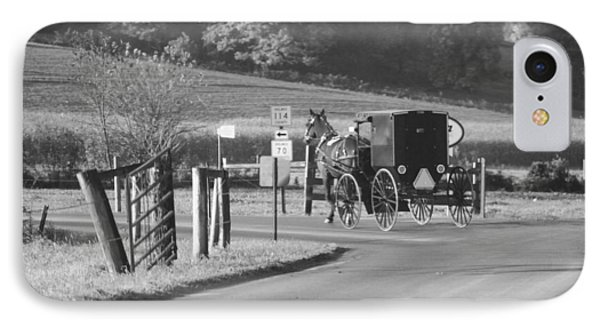 Black And White Amish Horse And Buggy IPhone Case by Dan Sproul