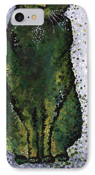 Black Cat Green Phone Case by Michelle Boudreaux