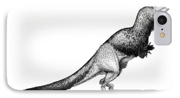 Black Ink Drawing Of Daspletosaurus IPhone Case by Vladimir Nikolov
