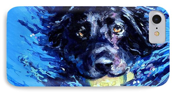 Black Lab  Blue Wake IPhone 7 Case by Molly Poole