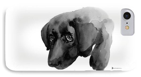 Black Labrador Dog Watercolor Painting Art Print IPhone Case by Joanna Szmerdt