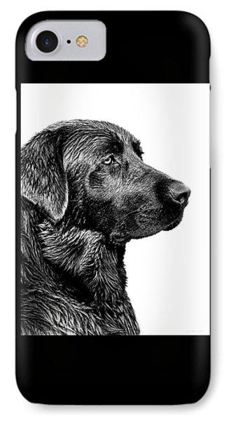 Black Labrador Retriever Dog Monochrome IPhone Case by Jennie Marie Schell