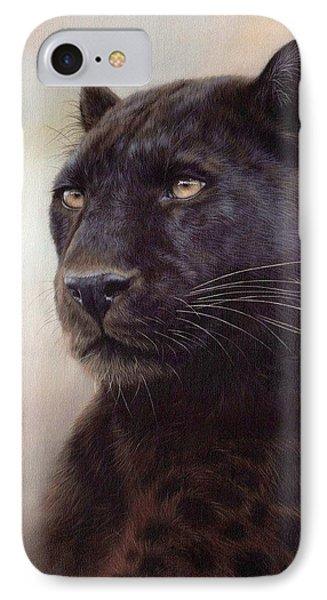 Black Leopard Painting IPhone 7 Case by Rachel Stribbling