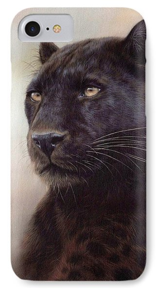 Black Leopard Painting IPhone Case by Rachel Stribbling