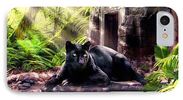 Black Panther Custodian Of Ancient Temple Ruins  IPhone Case by Regina Femrite