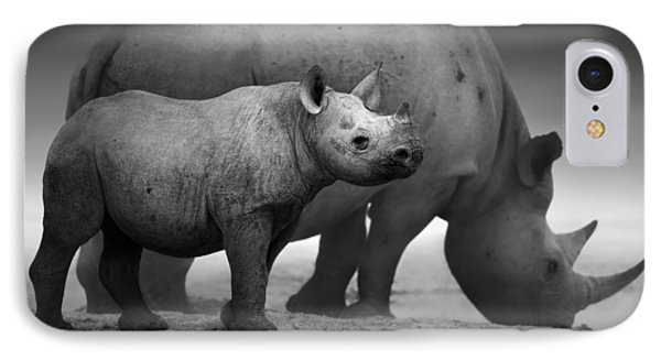 Black Rhinoceros Baby And Cow IPhone Case by Johan Swanepoel