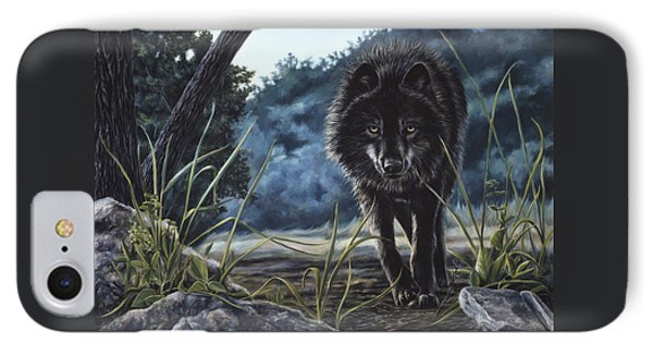 Black Wolf Hunting IPhone Case by Lucie Bilodeau