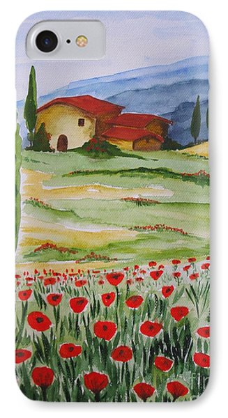 Blooming Poppy In Tuscany Phone Case by Christine Huwer
