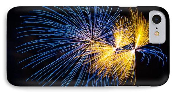 Blue And Orange Fireworks IPhone Case by Paul Freidlund