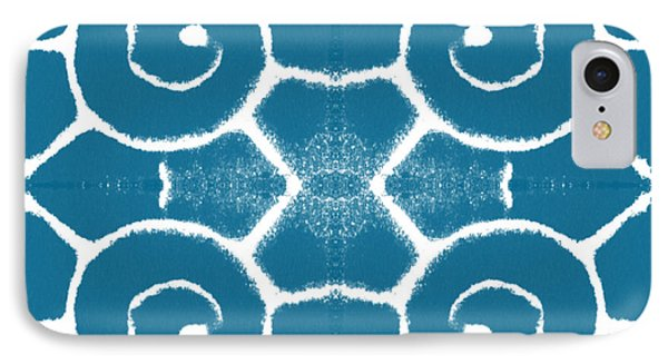 Blue And White Wave Tile- Abstract Art IPhone Case by Linda Woods