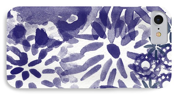 Blue Bouquet- Contemporary Abstract Floral Art Phone Case by Linda Woods