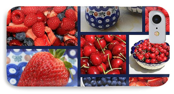 Blue Dishes And Fruit Collage Phone Case by Carol Groenen