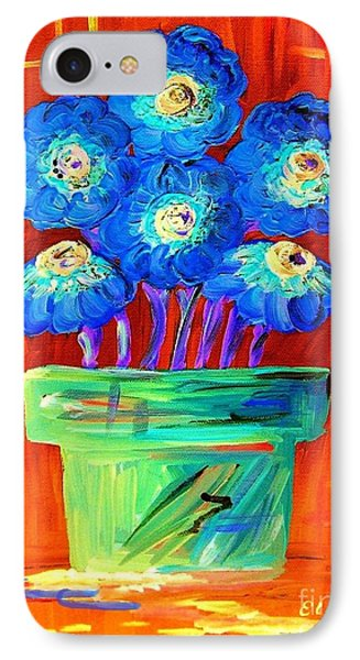 Blue Flowers On Orange Phone Case by Eloise Schneider