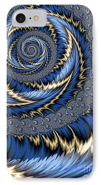 Blue Gold Spiral Abstract IPhone Case by John Edwards