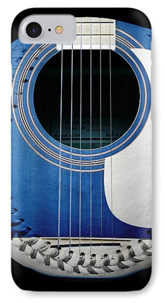 Blue Guitar Baseball White Laces Square IPhone Case by Andee Design