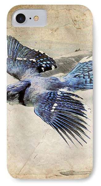 Blue Jay In Flight Phone Case by Ray Downing