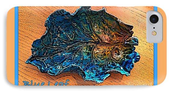 Blue Leaf Ceramic Design 2 Phone Case by Joan-Violet Stretch