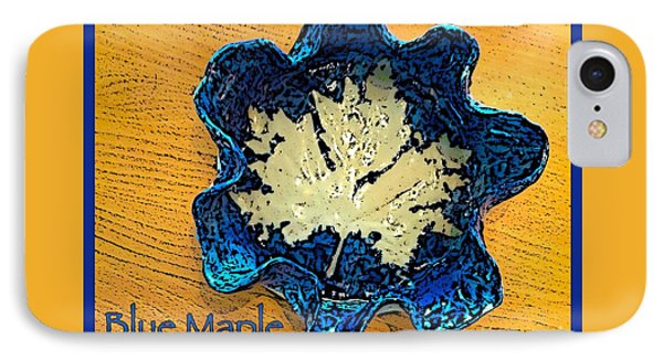 Blue Maple Leaf Dish 2 Phone Case by Joan-Violet Stretch