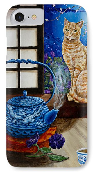Blue Moon Tea IPhone Case by Laura Iverson