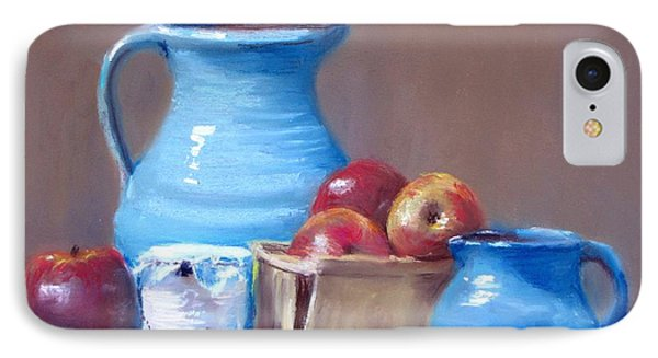 Blue Pitchers And Apples IPhone Case by Jack Skinner