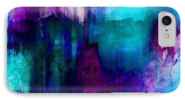 Blue Rain  Abstract Art   IPhone 7 Case by Ann Powell