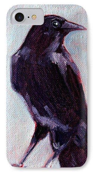 Blue Raven IPhone Case by Nancy Merkle