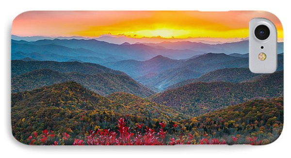 Blue Ridge Parkway Autumn Sunset Nc - Rapture IPhone Case by Dave Allen