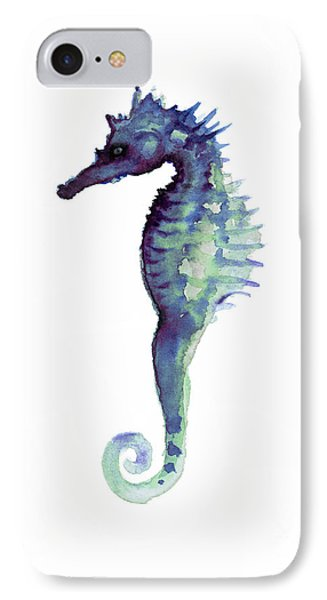 Blue Seahorse IPhone 7 Case by Joanna Szmerdt