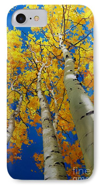 Blue Sky And Tall Aspen Trees IPhone Case by Gary Kim