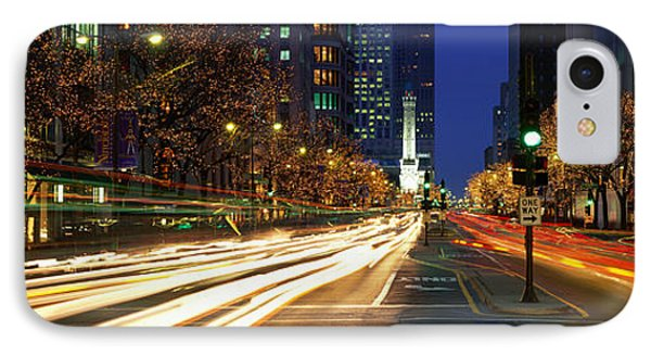 Blurred Motion, Cars, Michigan Avenue IPhone Case by Panoramic Images