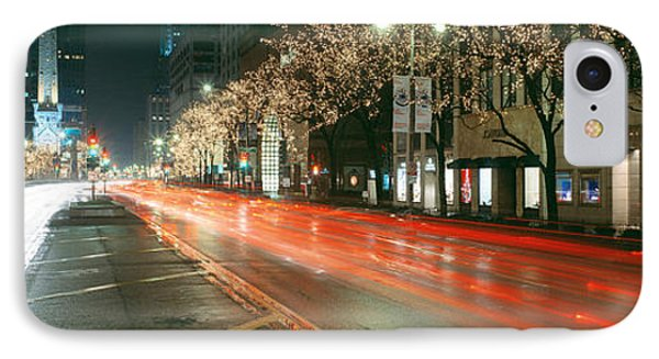 Blurred Motion Of Cars Along Michigan IPhone Case by Panoramic Images