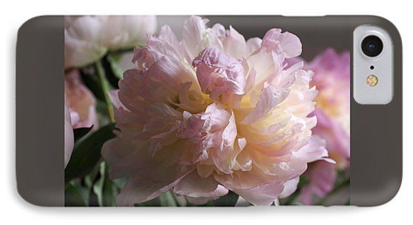 Blushing Peony IPhone Case by Rona Black
