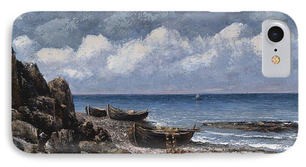 Boats At St Aubain Phone Case by Gustave Courbet