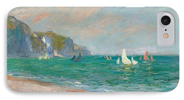Boats Below The Pourville Cliffs IPhone Case by Claude Monet