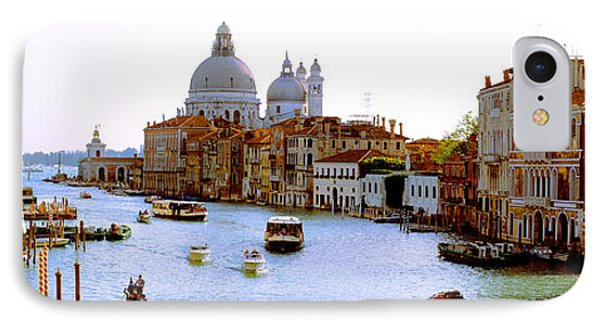 Boats In A Canal With A Church IPhone Case by Panoramic Images