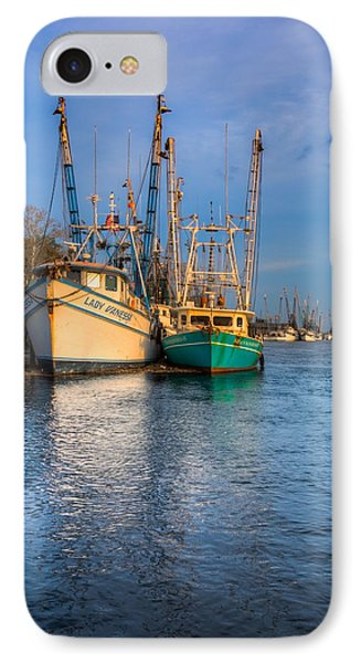 Boats In Blue Phone Case by Debra and Dave Vanderlaan