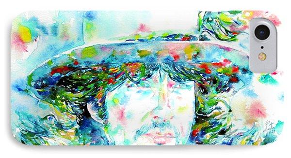 Bob Dylan - Watercolor Portrait.2 Phone Case by Fabrizio Cassetta