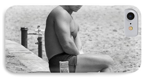 Body Builder At The Beach. IPhone Case by Underwood Archives