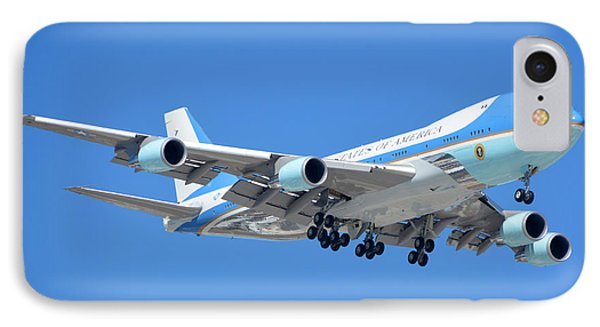 Air Force One Boeing Vc-25a 92-9000 Landing Phoenix Sky Harbor March 13 2015 IPhone Case by Brian Lockett