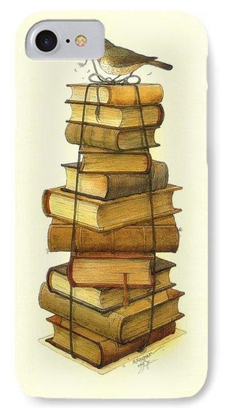 Books And Little Bird Phone Case by Kestutis Kasparavicius