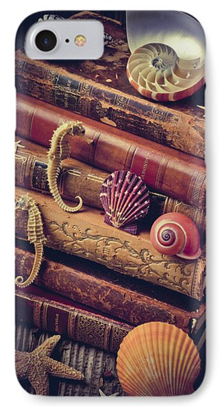 Books And Sea Shells IPhone Case by Garry Gay