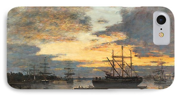 Bordeaux In The Harbor Phone Case by Eugene Louis Boudin