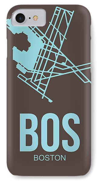 Bos Boston Airport Poster 2 IPhone Case by Naxart Studio