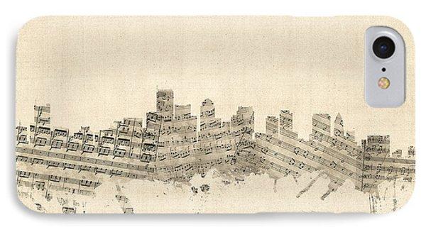 Boston Massachusetts Skyline Sheet Music Cityscape IPhone Case by Michael Tompsett