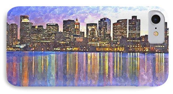 Boston Skyline By Night IPhone Case by Rachel Niedermayer