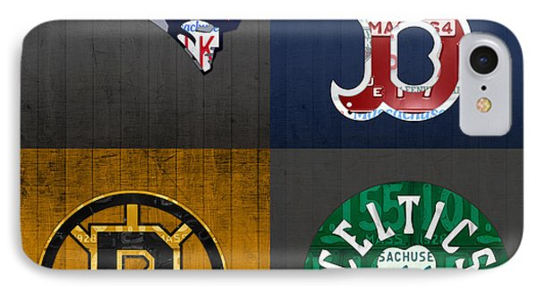 Boston Sports Fan Recycled Vintage Massachusetts License Plate Art Patriots Red Sox Bruins Celtics IPhone 7 Case by Design Turnpike