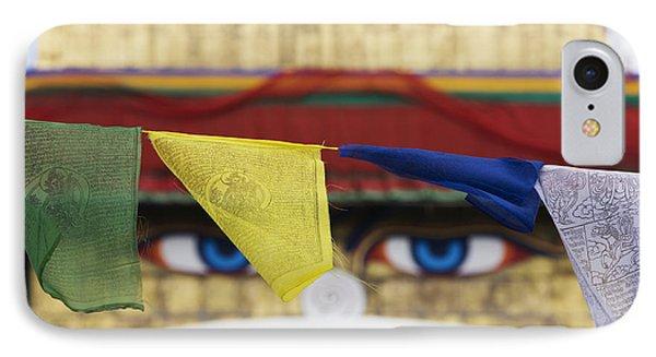 Boudhanath Stupa Prayer Flags IPhone Case by Tim Gainey